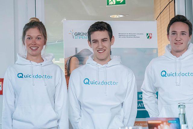 Nina Krah, Lukas Liß und Max Schüler vom Team Quickdoctor
