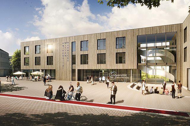 Visualisierung des Neubaus mit dem Campusplatz (Bildnachweis Björn Rolle)