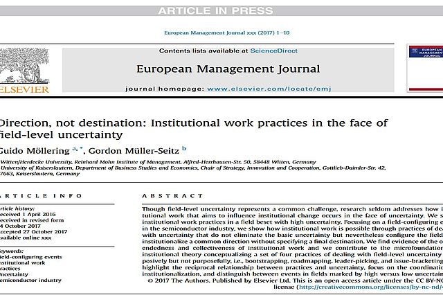 "Abstract ""Direction, not destination: Institutional work practices in the face of field-level uncertainty"""