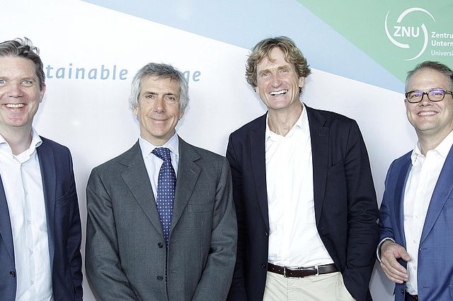 v.l.n.r.: Dr. Christian Geßner, Paolo Barilla (Barilla Group), Jan Niewodniczanski (Bitburger Braugruppe), Dr. Axel Kölle