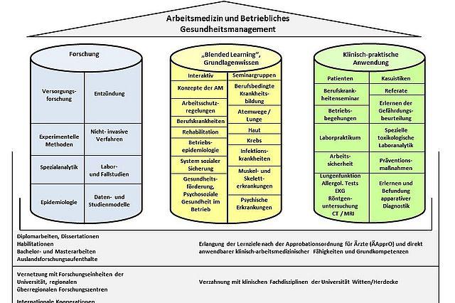 Drei Grundpfeiler werden arbeitsmedizinisch und interdisziplinär in einem Management-System verankert und vermitteln Grundlagen, Fachwissen und praktische Anwendbarkeit.