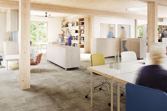 Visualisierung Neubau Universität Witten/Herdecke: offene Arbeits- und Kommunikationslandschaft (Bildnachweis: Atelier Noise)