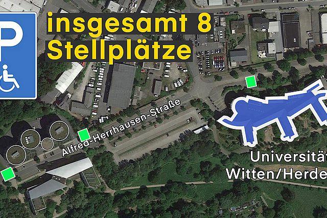 Universität Witten/Herdecke - ausgezeichnete Behindertenparlplätze