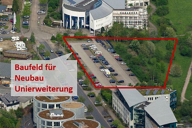 Baufeld für den Neubau auf dem ehemaligen Hauptparkplatz