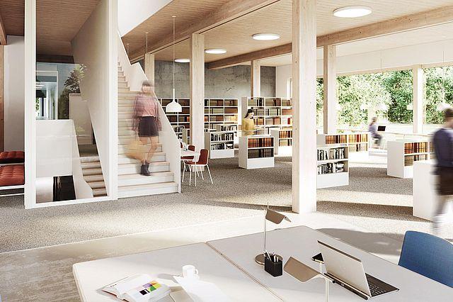 Visualisierung Bibliothek – großer Lesesaal mit Blickbeziehung in den Landschaftsraum Pferdebachtal (Bildnachweis: Atelier Noise)